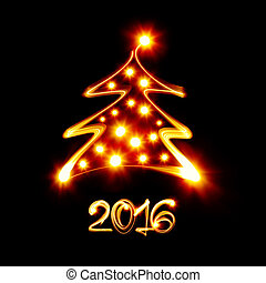Happy new year 2016 - Christmas tree painted by light -...