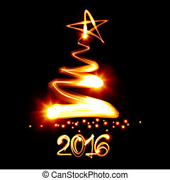 New year 2016 - Christmas tree painted by light - New year...