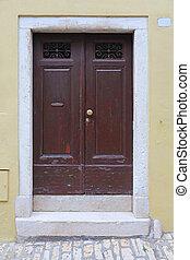 Brown Door - Closed Brown Door at Yellow House