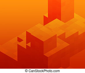 Cubic blocks - Abstract illustration wallpaper of geometric...