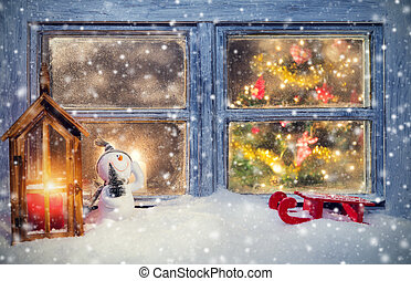 Atmospheric Christmas window sill decoration with cozy home...