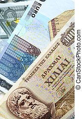 Drachma and euro notes - A mixture of old Greek drachma...