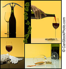 4 steps of wine - Collage of wine scenes