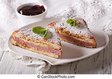 Delicious of Monte Cristo sandwich and jam horizontal -...