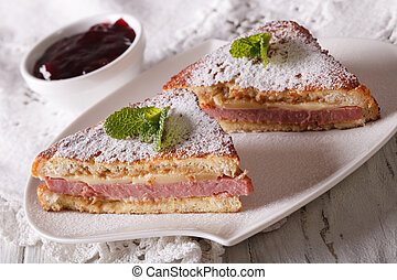 Delicious Monte Cristo sandwich close-up Horizontal -...