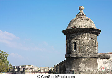 Colonial Wall of Cartagena de Indias. Colombia - Wall of the...