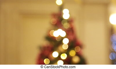Christmas tree with lights glowing bokeh