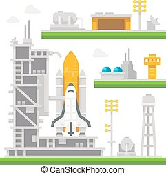Flat design shuttle launch station illustration vector