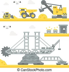 Flat design mining site equipment illustration vector