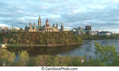 Parliament of Canada 3 - Pan to the Parliament of Canada in...