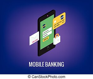 vector illustration of mobile banking with user interface. Phone, lock and credit card