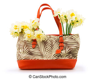 Bouquet of flowers daffodil in the bag