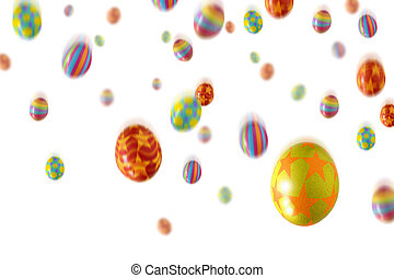 Sweet Rain - Many colorful Easter Eggs falling from the sky