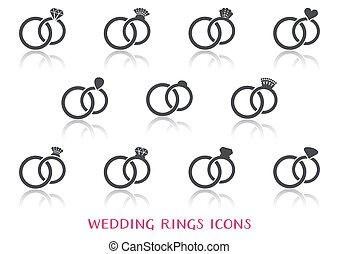 Vector wedding rings icons