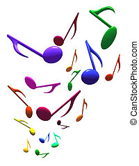 Musical Notes - three-D illustration of colorful notes...