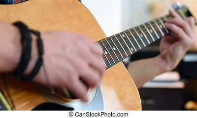 Man Playing On A Classical Guitar - Young Man Playing On A...