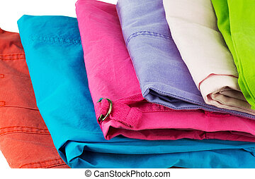 Colorful trousers - Stack of colorful trousers, background