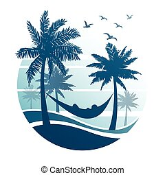 summer vacation on tropical beach,with Palm trees ,vector...