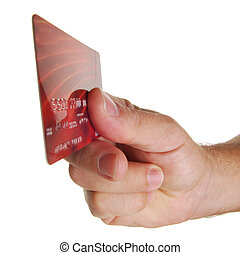 Credit Card - Hand holding credit card with white background