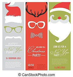 Christmas and New Year Retro Party Cards - Photo booth Style...