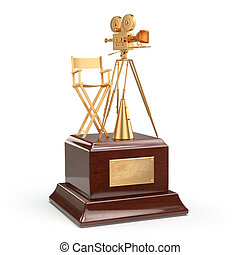 Film award. Gold vintage movie camera and chair of the...