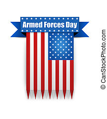Color flag on the Armed Forces day. - Hanging ribbon on the...