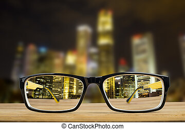 Glasses view vision focus viewpoint at Night City