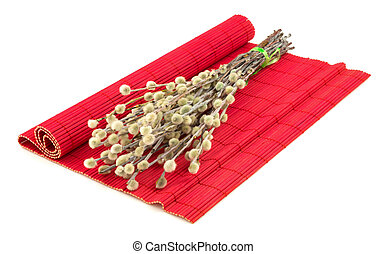 Easter willow on red mat - Bunch of easter willow on red mat...