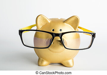 Piggy bank wear Glasses for your design and add your...