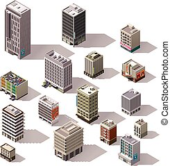 Vector isometric buildings set - Set of the isometric town...