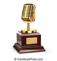 Music or journalism award concept. Gold microphone isolated...