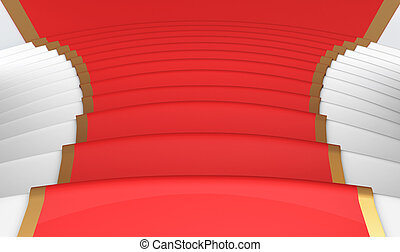 Red carpet on the steps close up 3d - Red carpet on the...