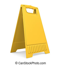 Yellow sign board stand 3d - Yellow sign board stand...