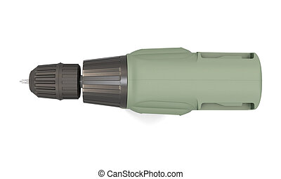 Electric drill - top view. 3d. - Electric drill isolated on...