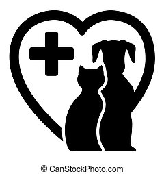 icon for veterinary services - black icon with dog and cat...