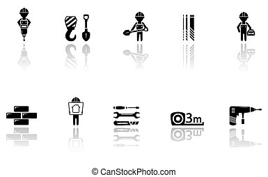 set of construction icons with tools - set isolated...