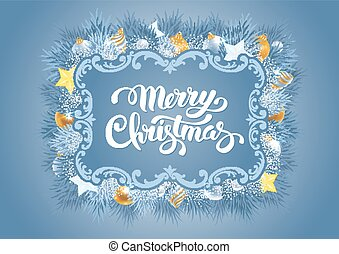 Merry Christmas greeting card - Christmas greeting card with...