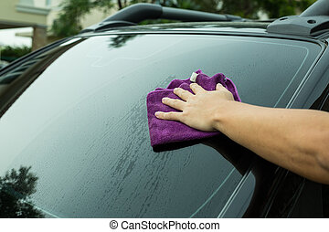 Wipe the car - People use hand for wipe the car