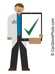 Doctor With Tablet Tick - A doctor with a tablet and chart...