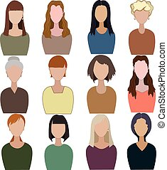 Set of abstract women