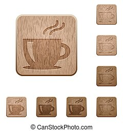 Cappuccino wooden buttons - Set of carved wooden cappuccino...