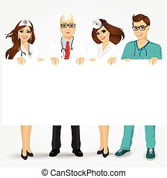 doctors and nurses holding a blank billboard - Concept for...