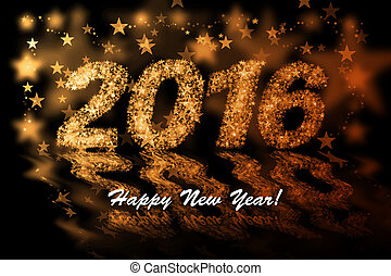 Happy New Year 2016. Golden stars background with bokeh effect