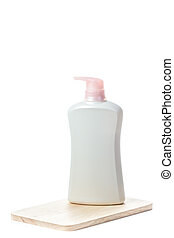 Toiletries on white background