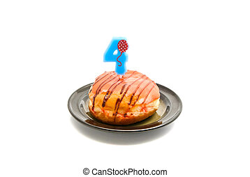 donut with four years birthday candle on white