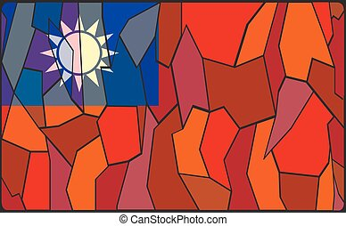 Taiwan Stained Glass Window - A Taiwan flag design stained...