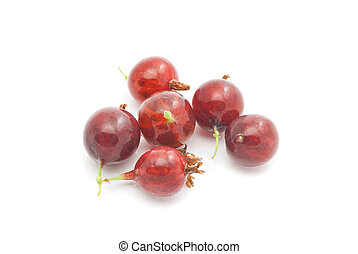 gooseberries on white - tasty red gooseberries on white...