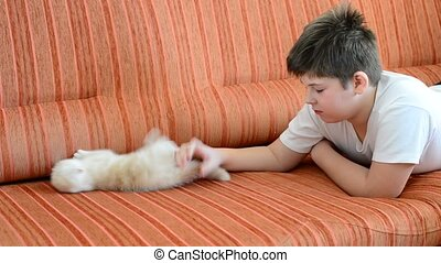 boy is allergic to cat - The boy is allergic to cat