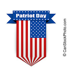 Color flag on the Patriot day - Hanging ribbon on the...