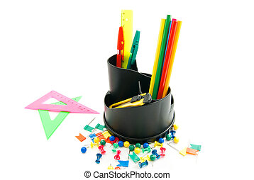 different office stationery on white background closeup